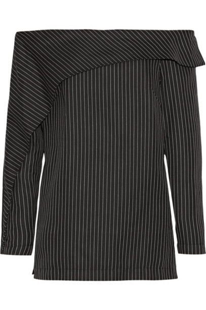 Paper London - Epoch Off-the-shoulder Pinstriped Twill Top - Black