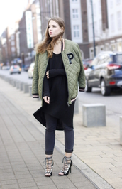 gold schnee,blogger,army green jacket,quilted,baseball jacket,long sleeve dress,strappy sandals,skinny pants