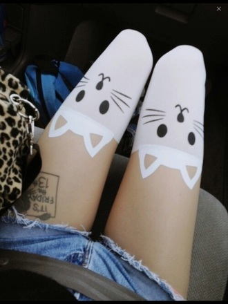 socks tights cats white skirt