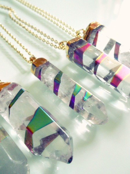Crystal quartz binded w/ rainbow aura titanium quartz wand necklace