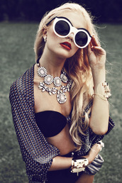 sunglasses,glasses,black and white glasses,black sunglasses,white glasses,necklace,white necklace,shirt,jewels,jewelry,blouse,classy,ebonylace.storenvy,statement necklace,retro,glamour,round sunglasses,retro sunglasses,hair accessory,big necklace,cardigan,swimwear,owl,cute sunglasses