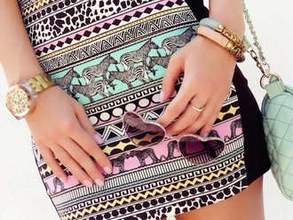 skirt aztec zebra print pink blue skirt sunglasses aztec print skirt zebra print colorful azerbaycan