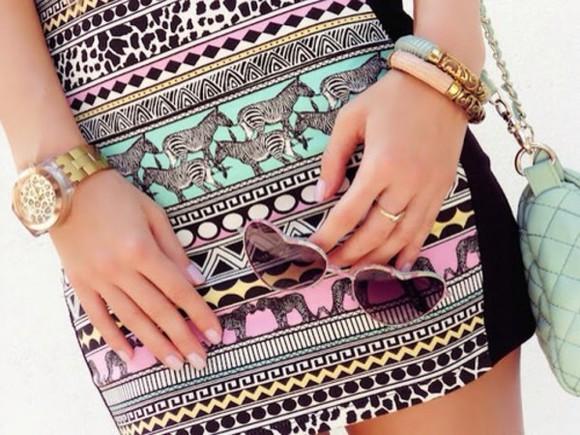 aztec colorful aztec print skirt zebra print want want want azerbaycan skirt pink blue skirt zebra print sunglasses