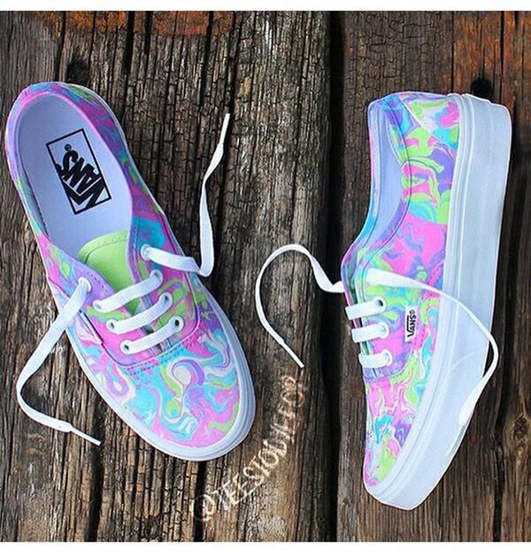 Shoes: vans, colorful, unique vans, custom, holographic ...