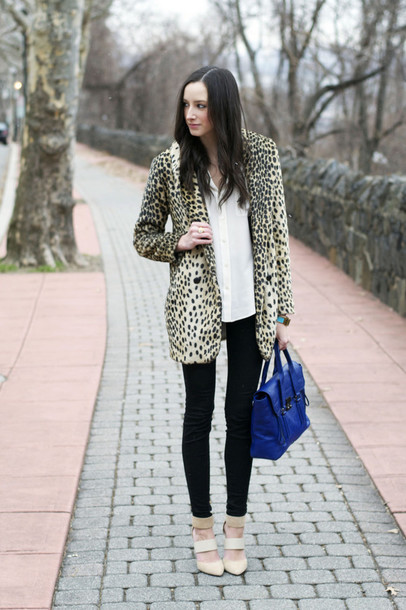 the glam files blogger animal print blazer blue