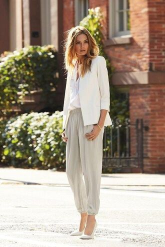 jacket tumblr white blazer blazer shirt white shirt pants grey pants pumps pointed toe pumps white shoes classy minimalist office outfits work outfits spring outfits