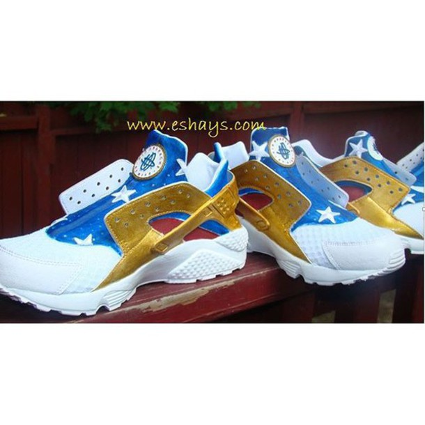 c2f9049ffab4 shoes custom nike huarache huarache american flag white red blue nike gold huaraches  custom nikes custom