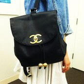 bag,black and gold,gold,cc,chanel,backpack,denim vintage levis,denim,white,classy,black,black bag