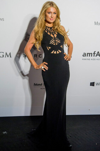 dress gown black dress paris hilton