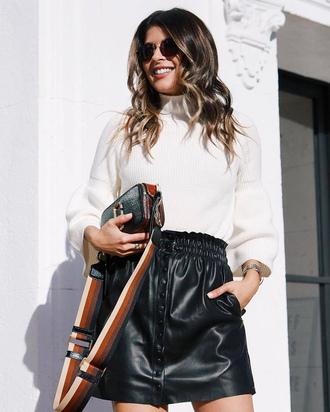 skirt black skirt white skirt tumblr mini skirt leather skirt sweater knit knitted sweater bag