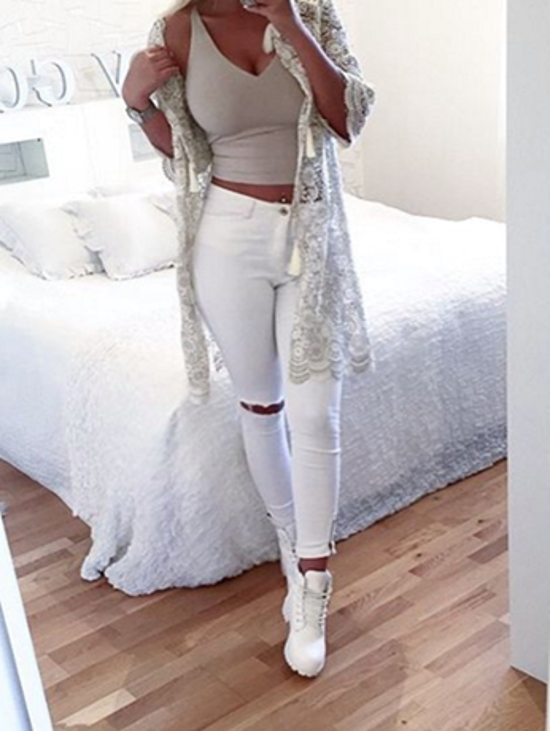 Women's White Knee-Ripped High Waisted Skinny Zipped Jeans