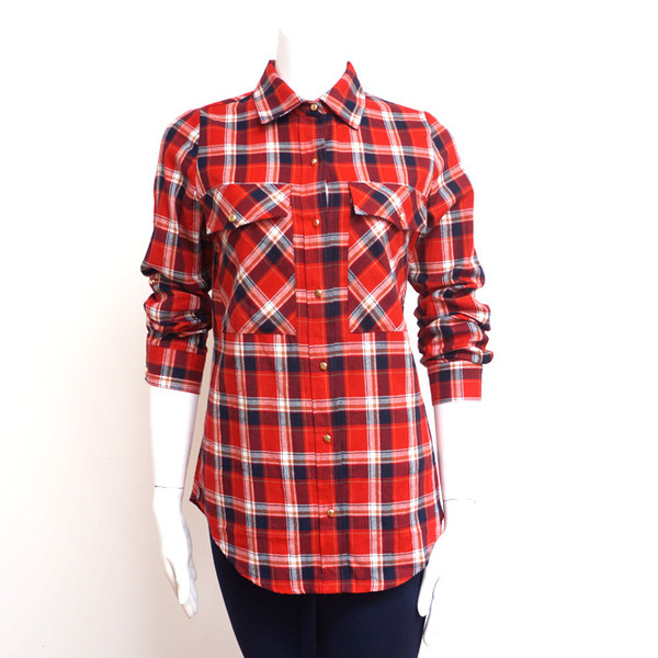 Saucy Plaid Button Up Red Ed.