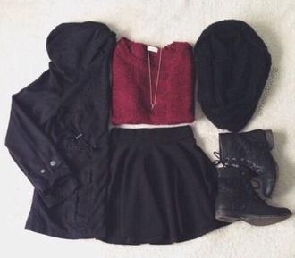 jacket black winter jacket winter coat cold shirt jewels scarf shoes skirt sweater dress t-shirt hat top