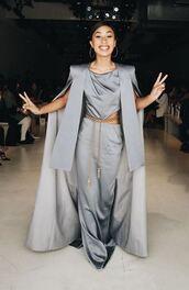 coat,pants,top,grey,mylifeaseva,nyfw 2017,ny fashion week 2017,dress,maxi dress