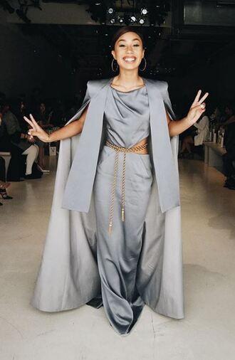 coat pants top grey mylifeaseva nyfw 2017 ny fashion week 2017 dress maxi dress
