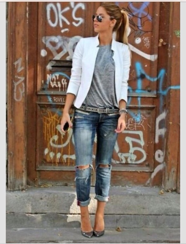jacket jeans blouse cardigan white cute shoes blazer heels top