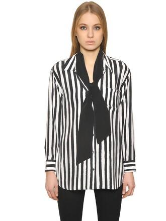 shirt silk white black top