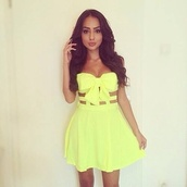 dress,little dress,summer dress,yellow,bow,beach dress,yellow dress,cute,bowdress,caged in dress,cagedress,girly,yellow summer dress,neon yellow,cute dress,cut-out dress,bautiful,summer outfits,lovely,lovely dress,summer,neon dress,neon,bow dress,cut-out,jewels,black dress,blue dress,skater dress,jacket,fur jacket,light up