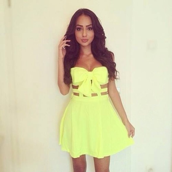 dress summer dress yellow little dress bow beach dress yellow neon