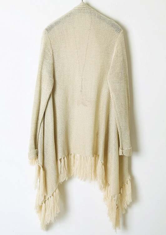 Beige Long Sleeve Metallic Yoke Tassel Cardigan - Sheinside.com