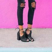 jeans,shoes,block heels,open toed shoe,ankle strap heels,black,boots,booties,lace up,black heels