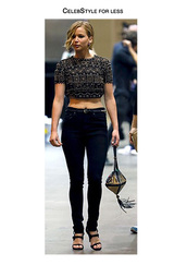 top,celebstyle for less,jewels,belt,bag,jennifer lawrence,embroidered,crop tops,black,high waisted jeans,jeans,studs,black heels,sandals,clutch,rock,trendy,date outfit,underwear