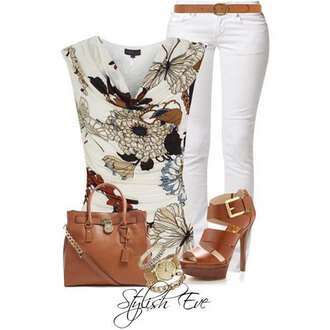 shoes white pants brown floral boots bag heels