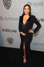 dress,plunge v neck,plunge dress,black dress,slit dress,maxi dress,maternity dress,eva longoria,Golden Globes 2018