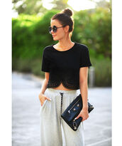 stylista,blogger,leather clutch,balenciaga,carven,black crop top