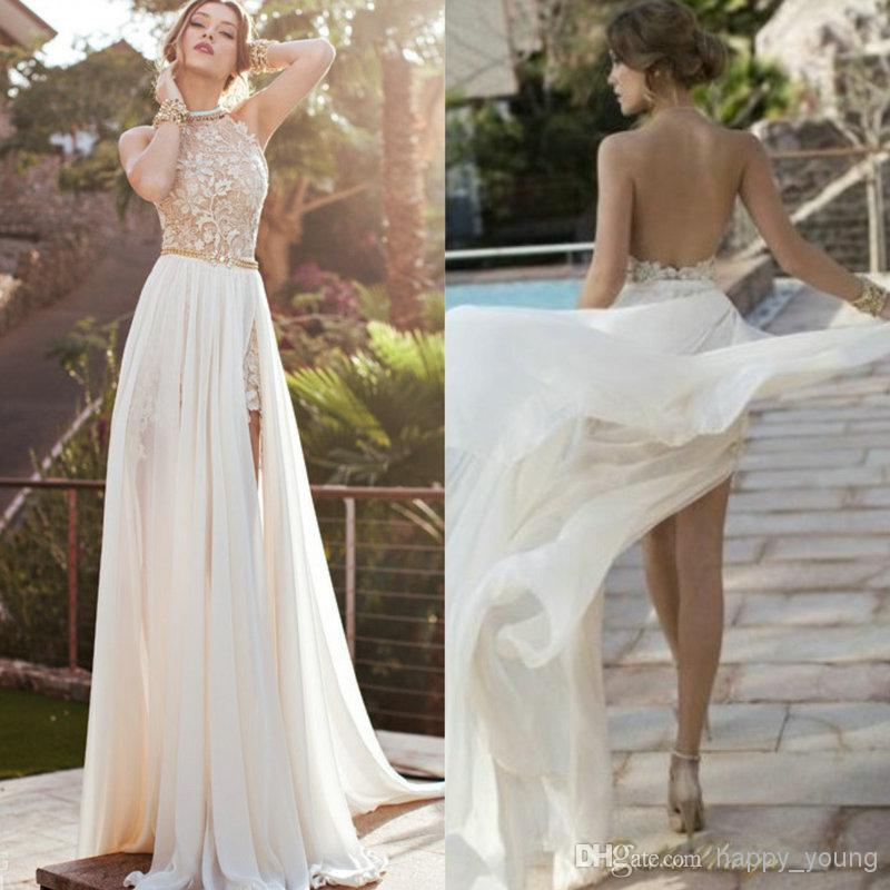 Cheap Prom Dresses 2015 - Discount High Neck Lace Beaded Chiffon High Low White Online with $131.03/Piece | DHgate