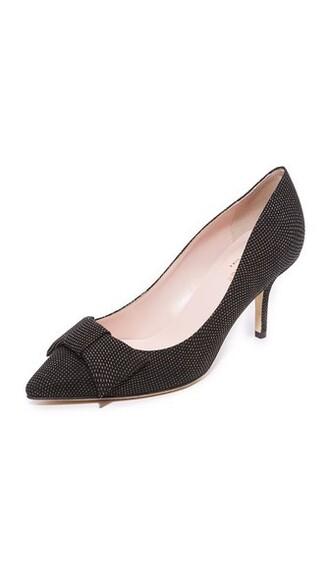 pumps gold floral black shoes