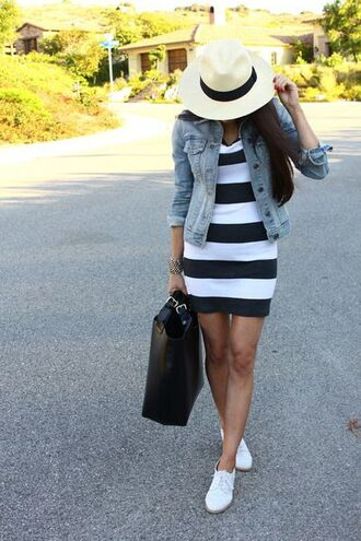 dress jacket striped dress stripes denim bag summer outfit hat white plimsolls ootd streetstyle women fashion women clothing haute couture