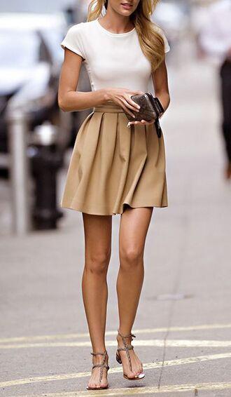 skirt camel soft skirt short skirt casual skirt cute skirt pleated skirt