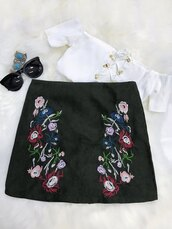 skirt,fashion,style,crop tops,girly,floral,flowers,black,zaful