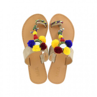 shoes girl girly girly wishlist pom poms cute sandals flat sandals flats