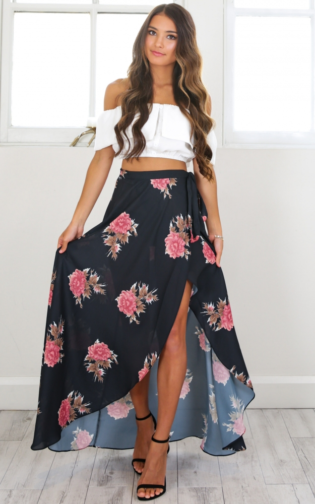 Everlasting maxi skirt in pink floral Produced By SHOWPO