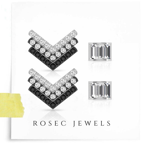 Two Tone Chevron Stud Earring, White Gold Pave Diamond V Shape Studs, Baguette Flat Back Cartilage, Arrow Women Helix Tragus Studs