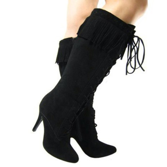 shoes black boots heeled boots knee high boots tassels