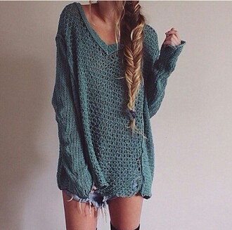 sweater green knitwear holes deep vneck