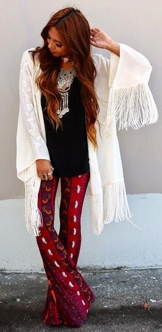 boho bohemian bohemian pants boho pants cardigan bell bottoms kimono fringe kimono fringe cardigan boho necklace pants