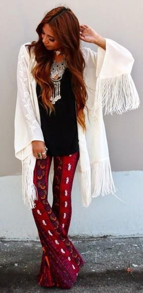 kimono fringe kimono boho cardigan fringe cardigan bohemian pants bell bottoms boho necklace