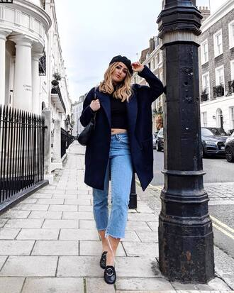 coat tumblr blue coat navy navy coat beret denim jeans cropped jeans black loafers loafers