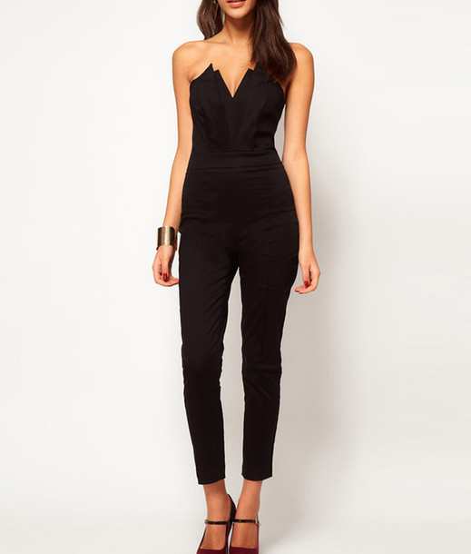jumpsuit black strapless black jumpsuit