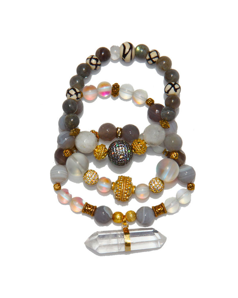 Jewels By Dunn See Through Luck Bracelet Set