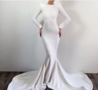 dress white white dress formal dress long dress train dress mermaid prom dress