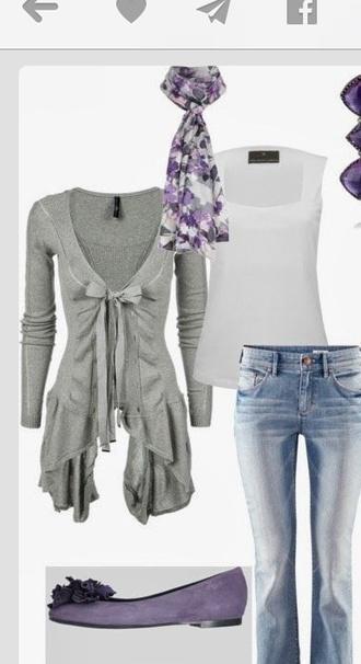 cardigan grey silk scarf