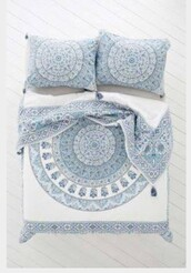 home accessory,blue white boho quilt cover,mandala,home decor,bedding