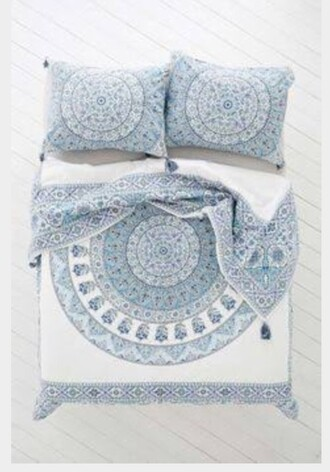 home accessory blue white boho quilt cover mandala home decor bedding