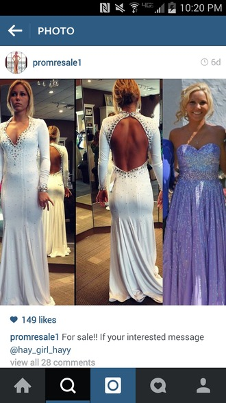 dress white dress backless homecoming dress jewels sparkle lomg