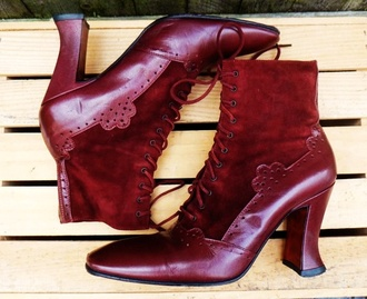 shoes steampunk vintage victorian high heels red high heels burgundy burgundy shoes lace up boots lace boots combat boots old but handsome vintage old vintage
